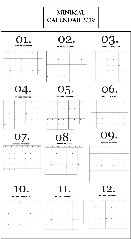 Modern Minimal 2019 Monthly Calendar | Minimalist Calendar  File:///u:/depo Perpetual Calendar.pdf