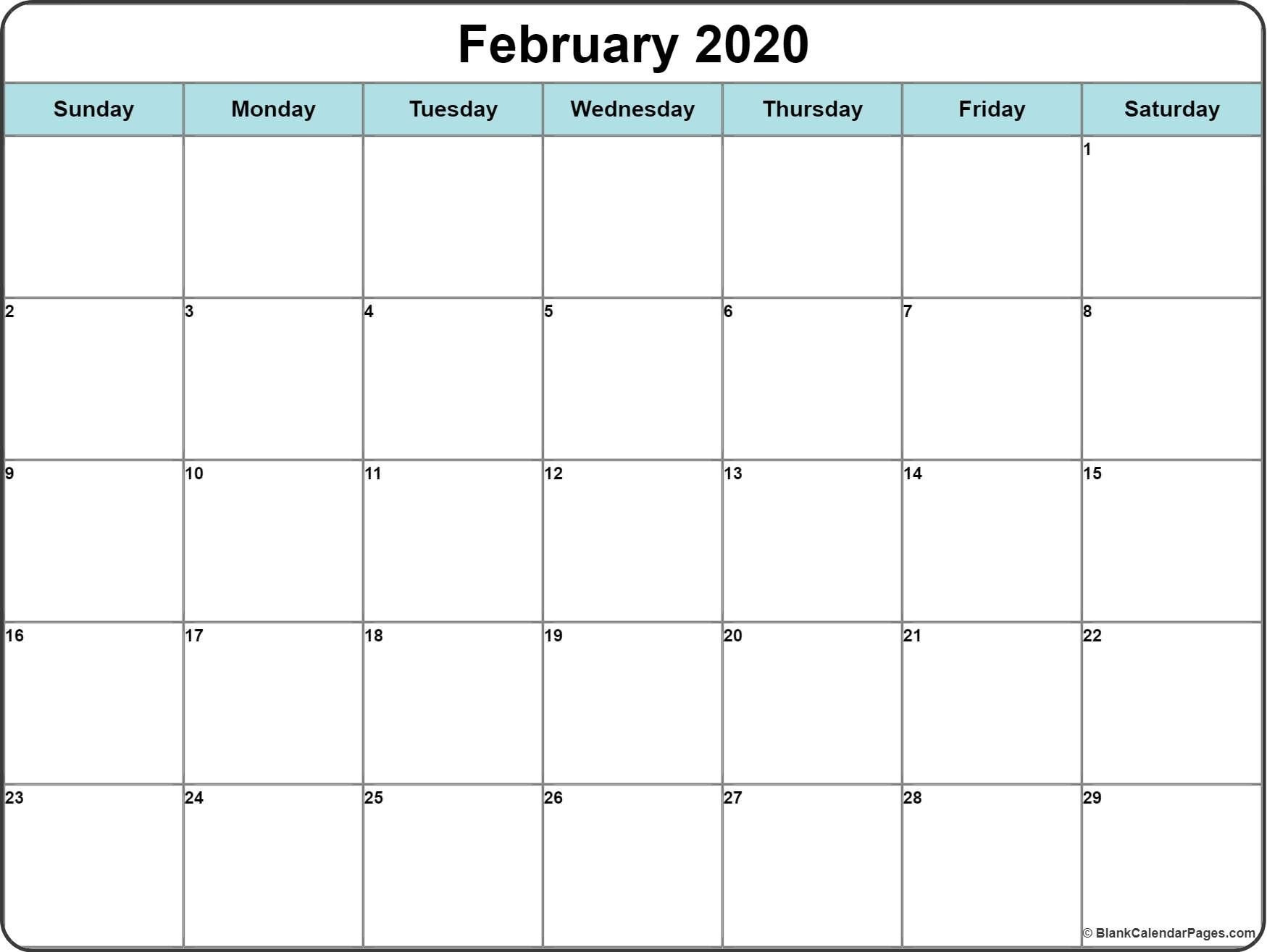 Monthly 2020 Printable Calendar Template (With Images  Printable February 2020 Calendar Page