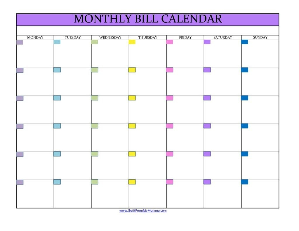 Monthly Bill Calendar - Got It From My Momma  Monthly Payment Calendar Pdf