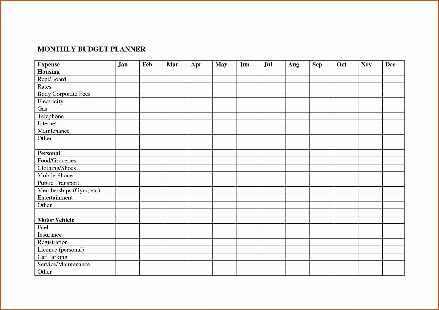 Monthly Bills Spreadsheet Personal Budget Free Download For  Printable Monthley Bills Sheet