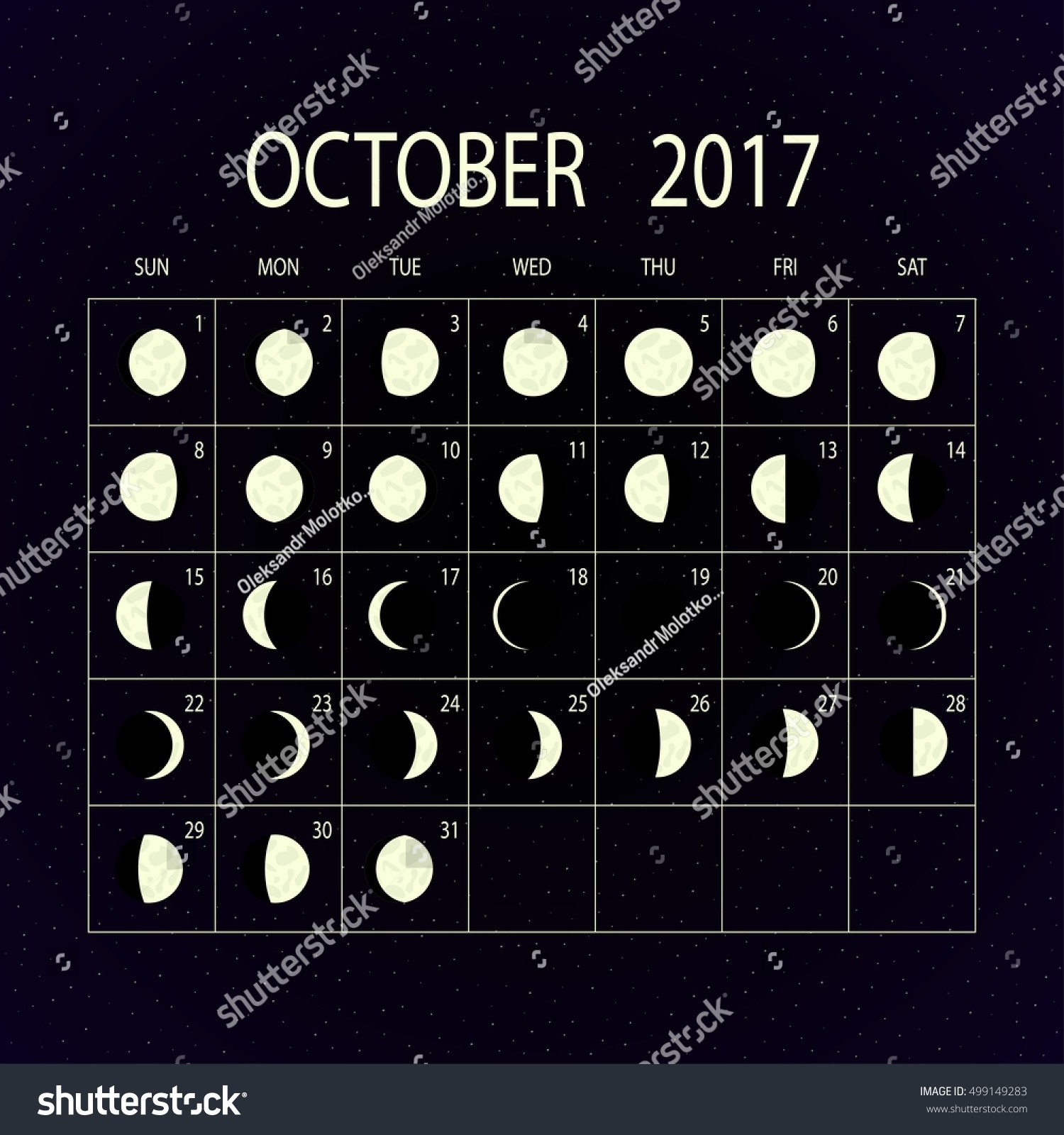 Moon Phases Calendar 2017 On Night Stock Vector (Royalty  2017 Moon Phase October