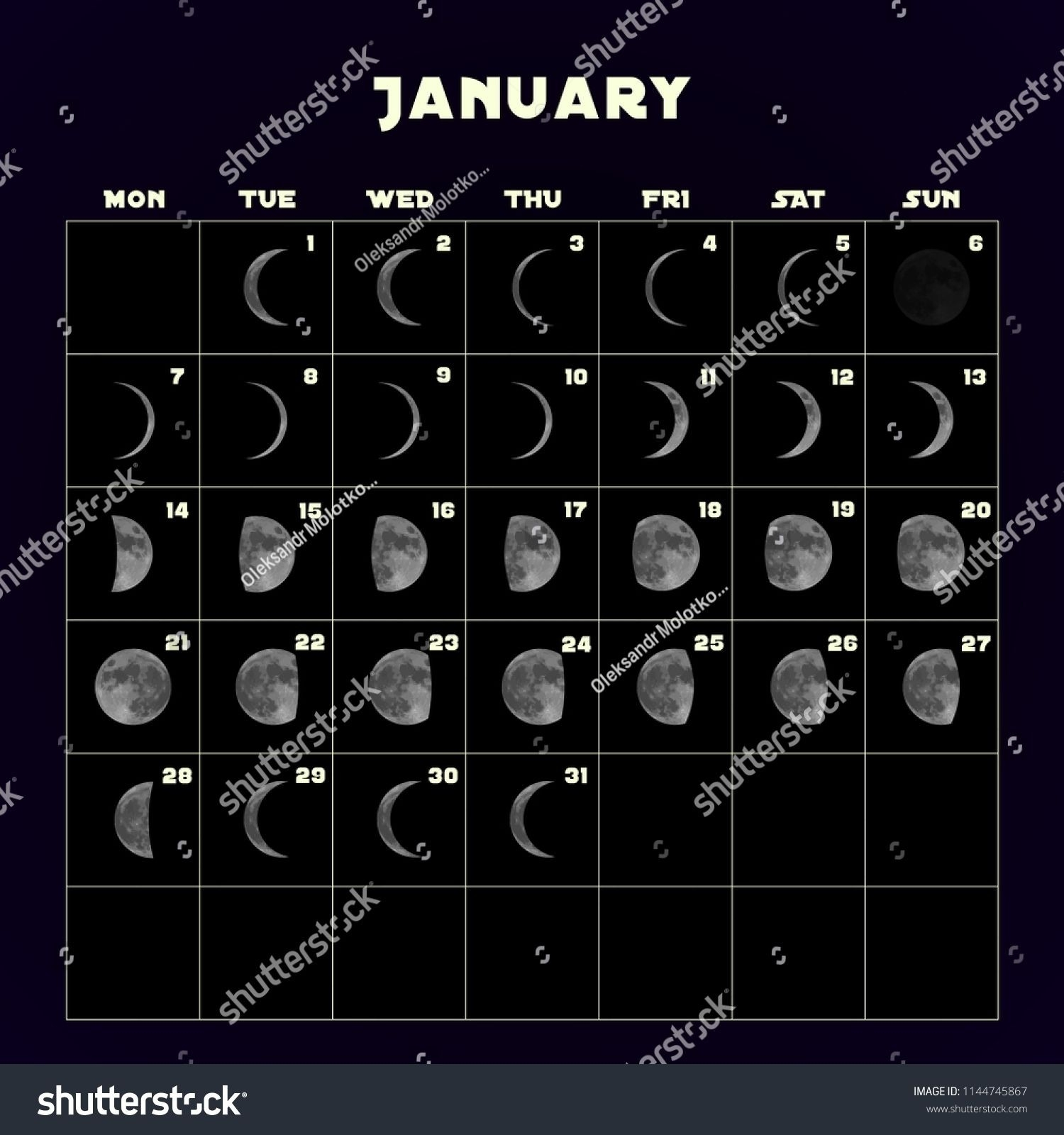 Moon Phases Calendar 2019 Realistic Moon Stock Vector  2017 Moon Phase October