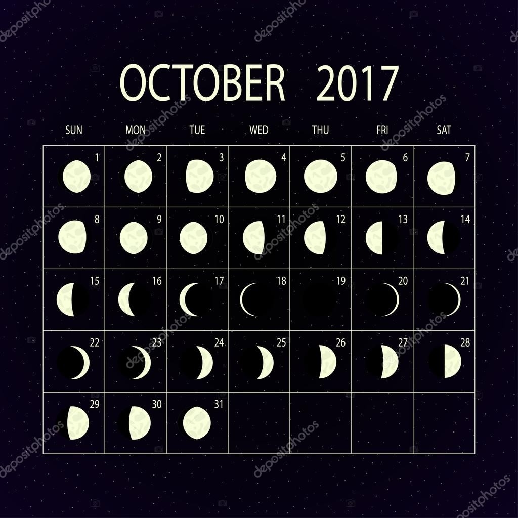 Moon Phases Calendar For 2017. October. Vector Illustration  2017 Moon Phase October