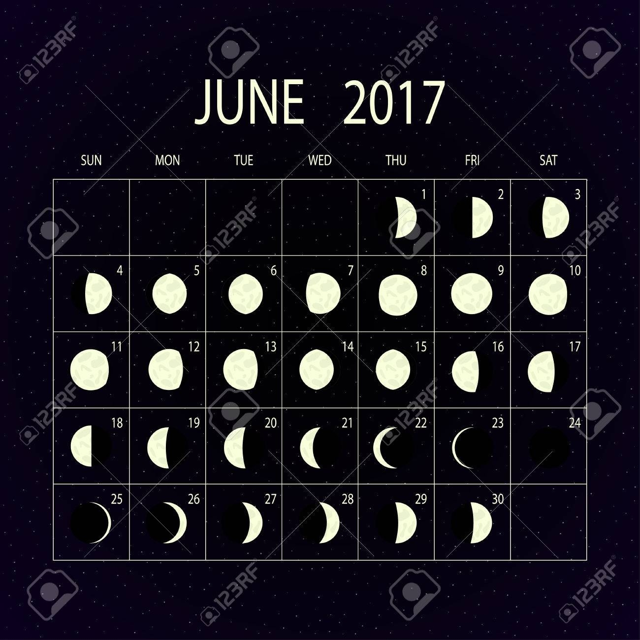 Moon Phases Calendar For 2017 On Night Sky. June. Vector Illustration.  2017 Moon Phase October
