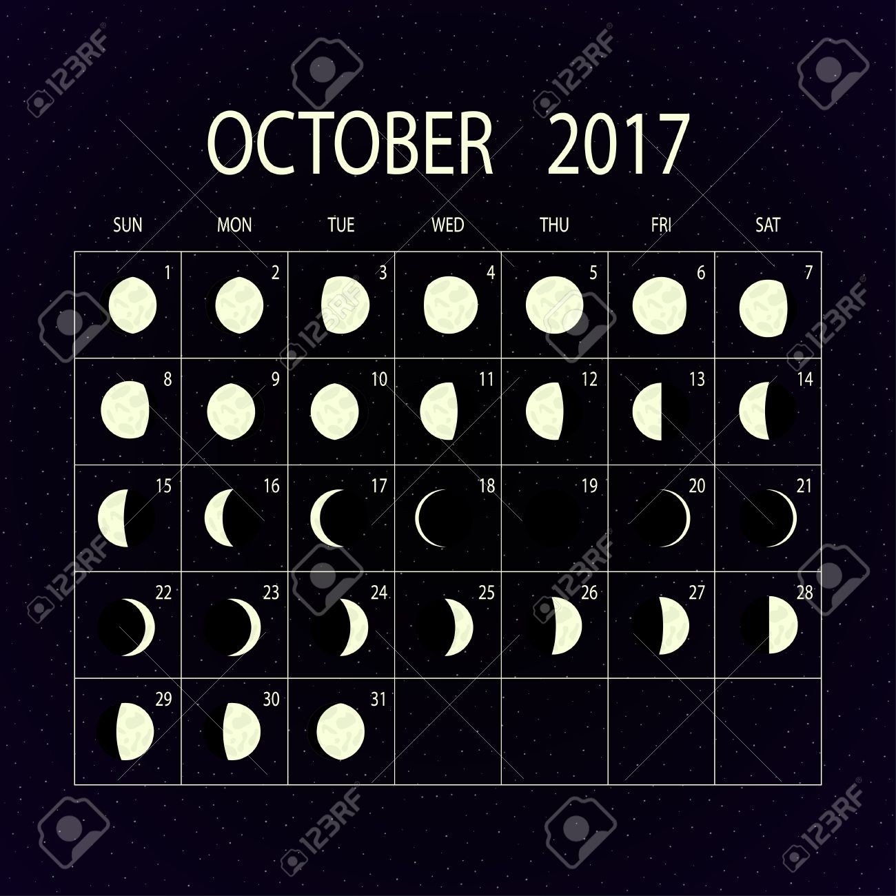 Moon Phases Calendar For 2017 On Night Sky. October. Vector Illustration.  2017 Moon Phase October