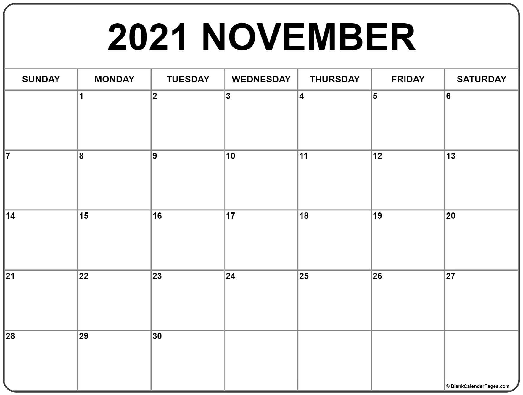November 2021 Calendar | Free Printable Monthly Calendars  2021 Free Printable Calendars Without Downloading November