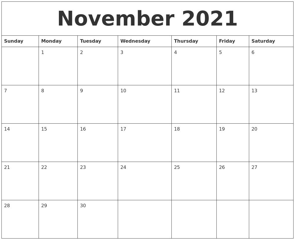 November 2021 Free Printable Calendar Templates  2021 Free Printable Calendars Without Downloading November