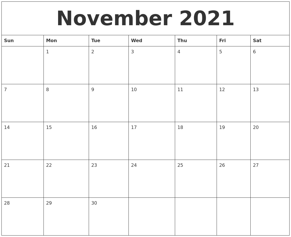 November 2021 Free Printable Calendar Templates  2021 Free Printable Calendars Without Downloading November