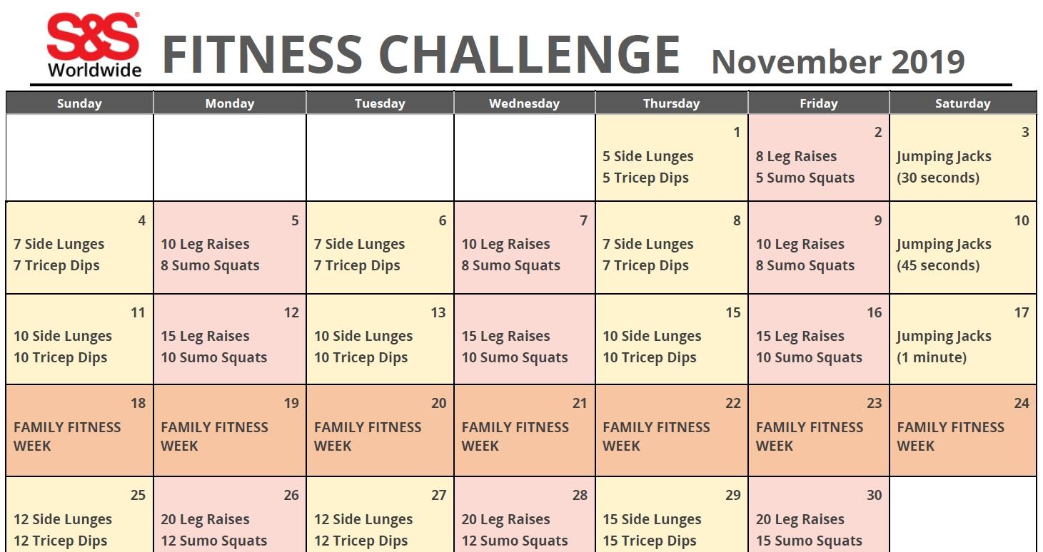 November Printable Fitness Challenge Calendar - S&s Blog  Fitness Challeng Caladar