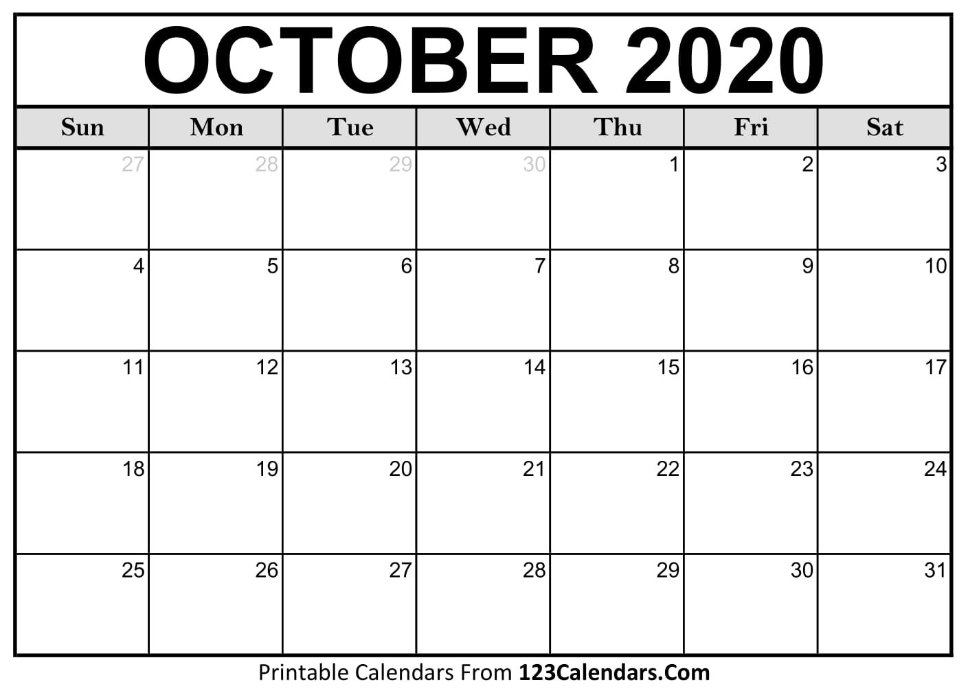 October 2020 Printable Calendar | 123Calendars  Calendar Print Off