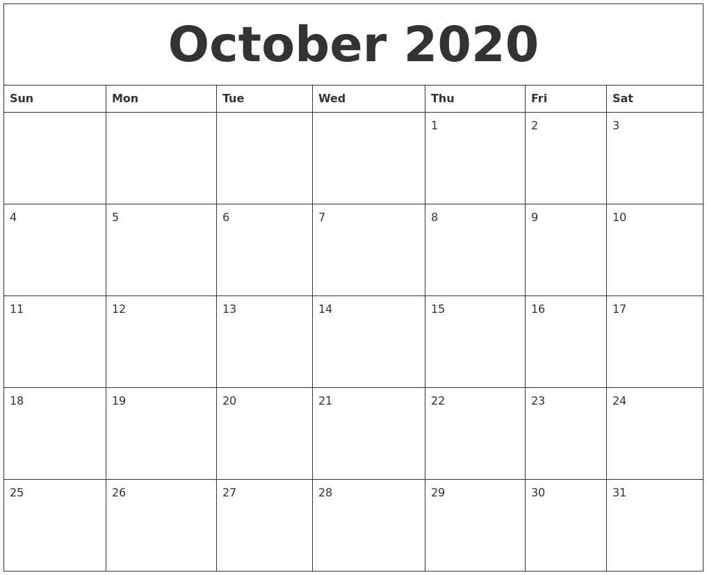 October 2020 Printable Calendar Templates  Calendar Templates 2020 Printable