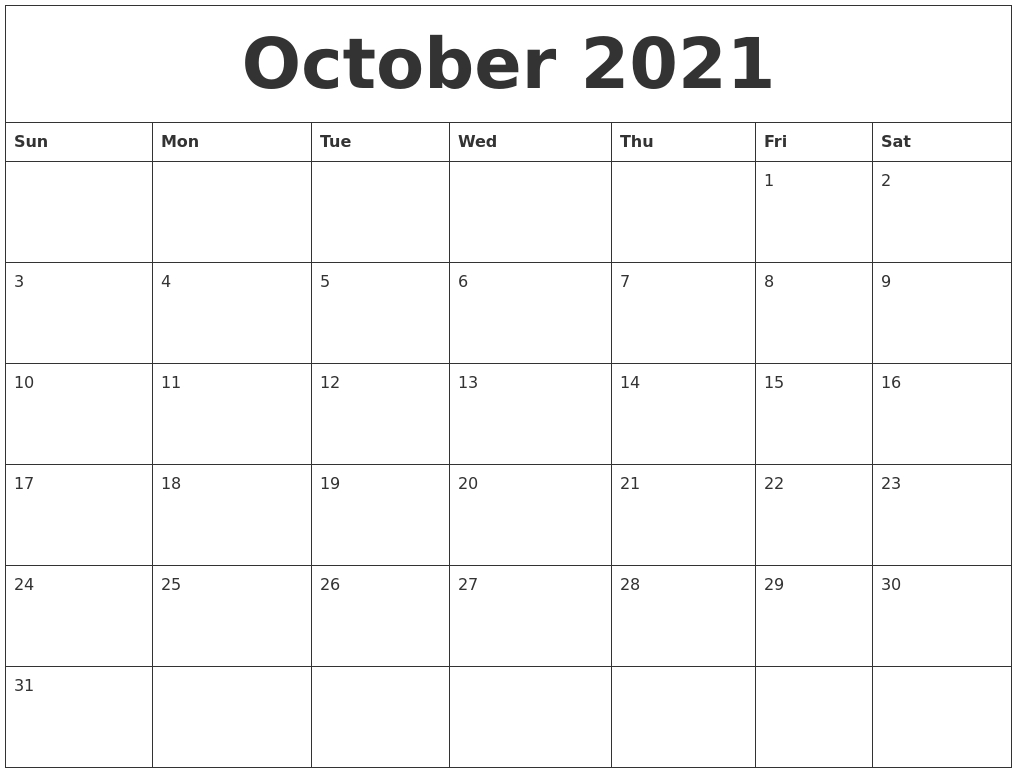 October 2021 Free Printable Monthly Calendar  Free 2021 Monthly Calendar Printable Pdf