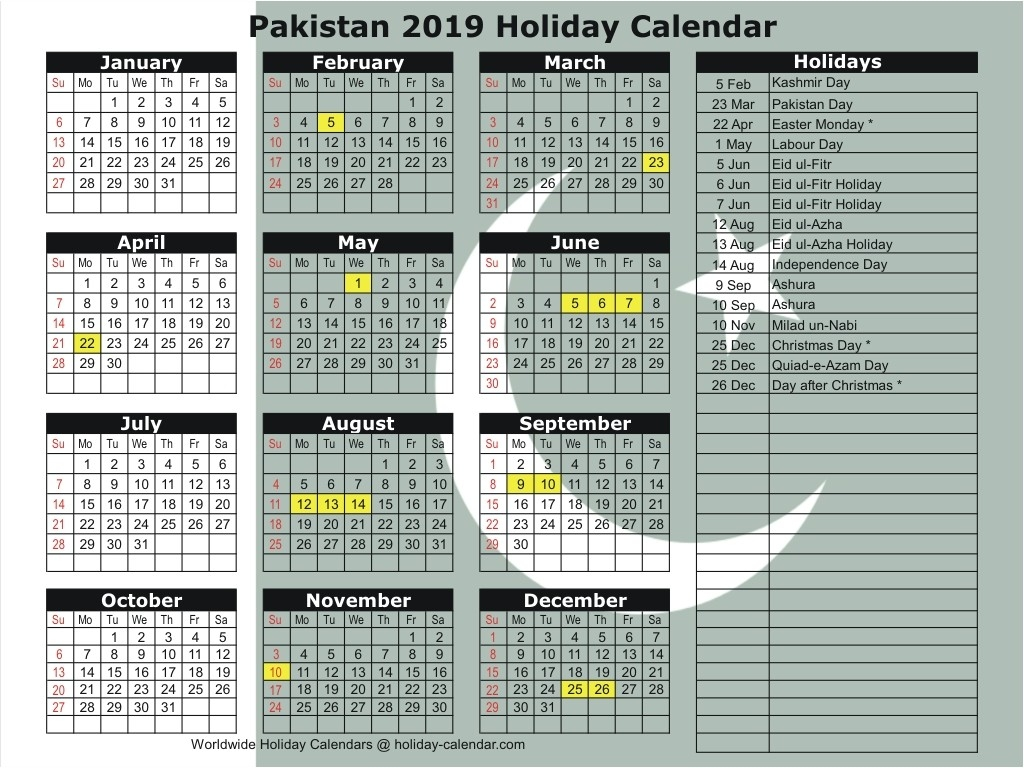 Pakistan 2019 / 2020 Holiday Calendar  Pakistan Holidays 2020