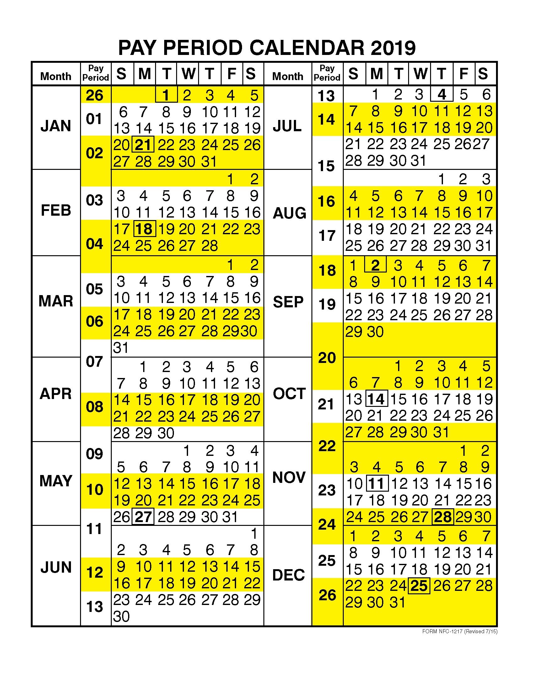 Pay Period Calendar 2019Calendar Year – Free Printable  Bill Payment Calendar By Pay Period