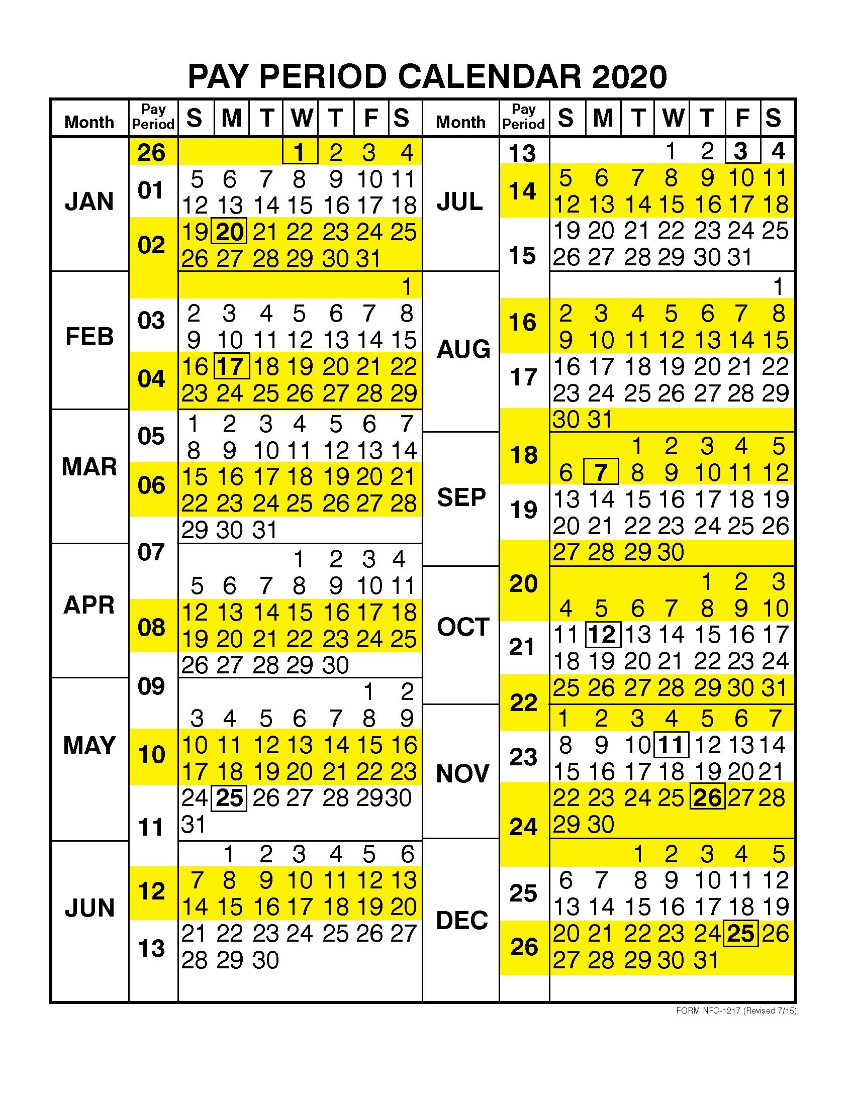 Pay Period Calendar 2020Calendar Year – Free Printable  2020 Government Payroll Calendar