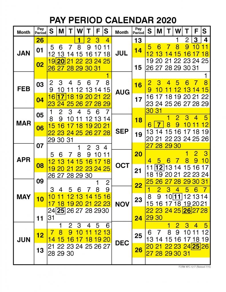 Pay Period Calendar 2020Calendar Year – Free Printable  Opm Pp Calendar 2020