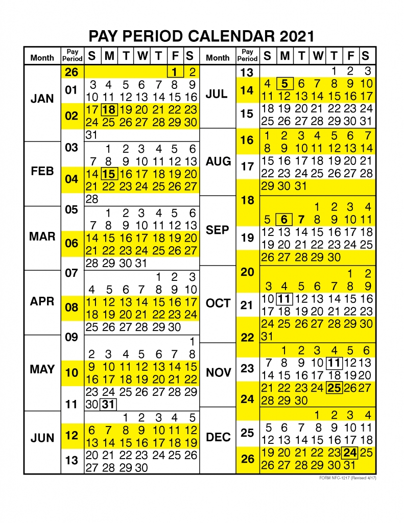 Pay Period Calendar 2021Calendar Year – Free Printable  2020 Postal Pay Periods