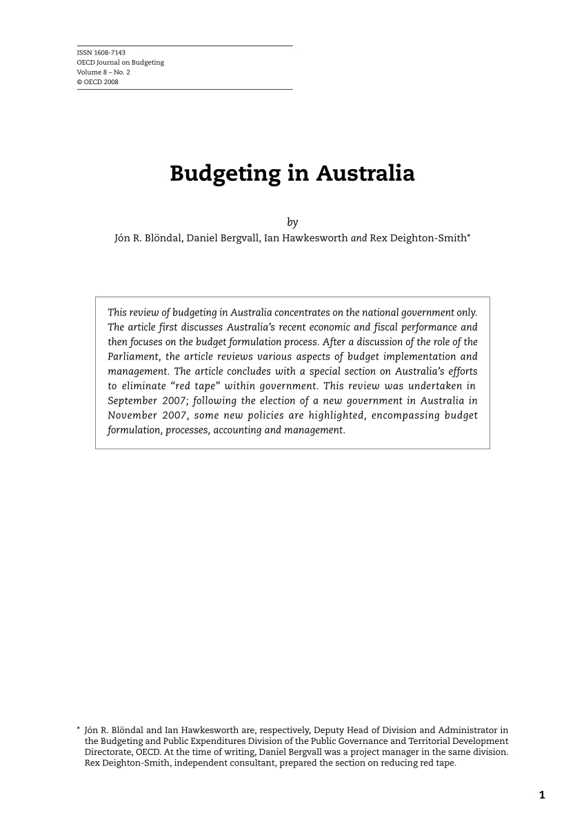 Pdf) Budgeting In Australia  Australain Pension Budgeting Calenar Of Financial Year