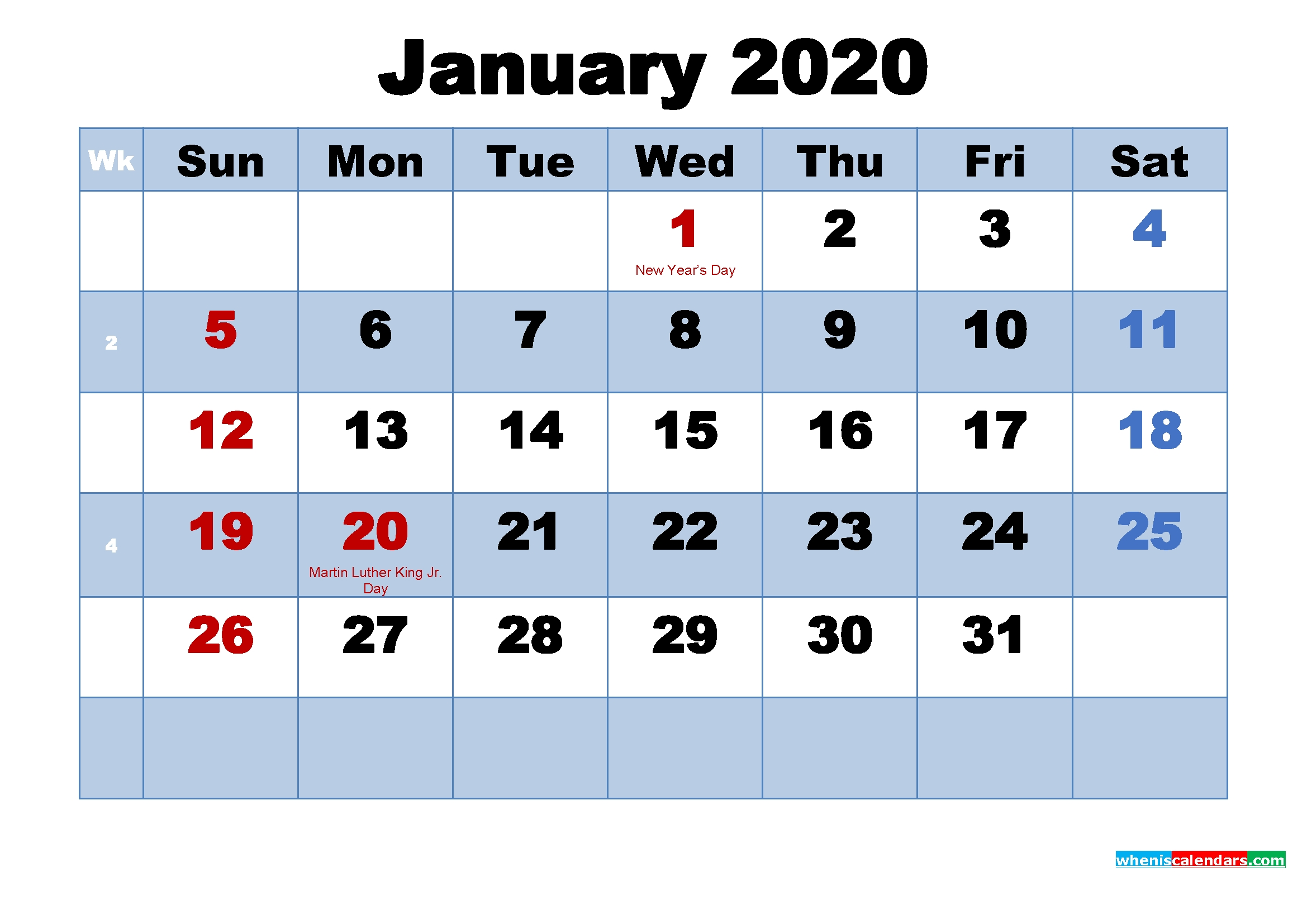 Planning Be Easy With Printable 2020 Monthly Calendar  Free Monthly Calendar Print Out 2020 With Holidays