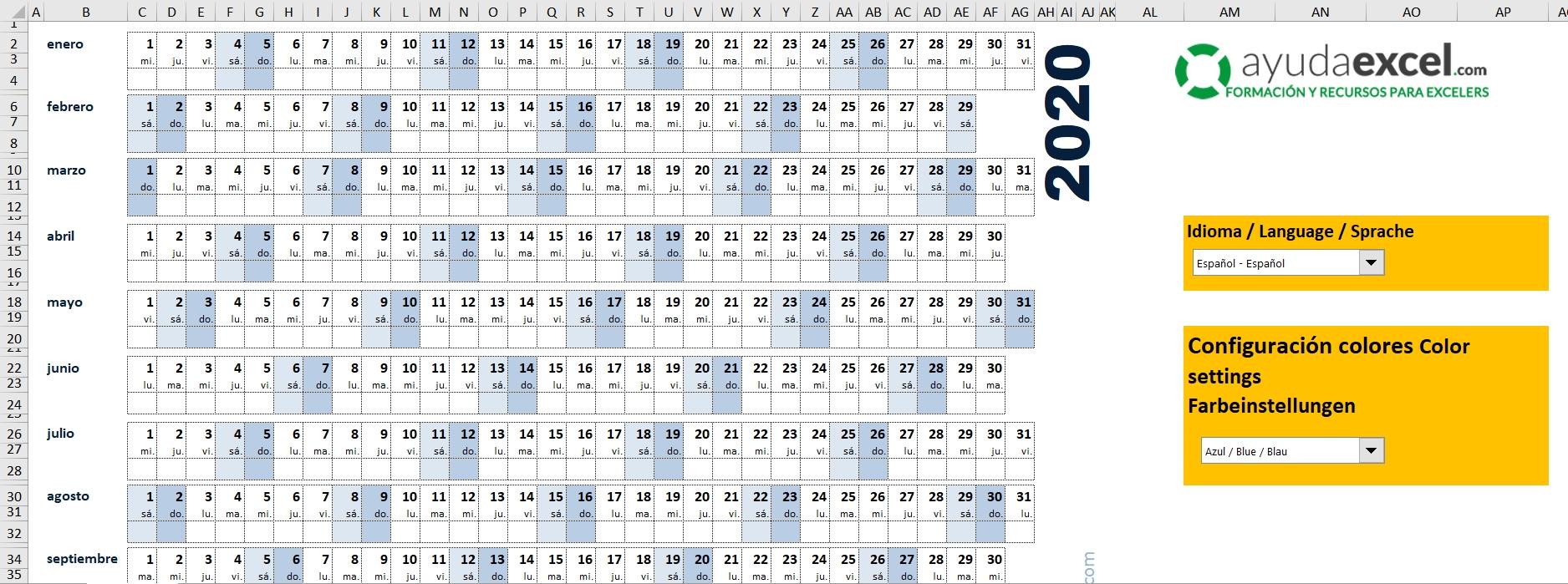 Plantillas Calendario En Excel 2020 - Ayuda Excel  Calenadrio Juliano 2020