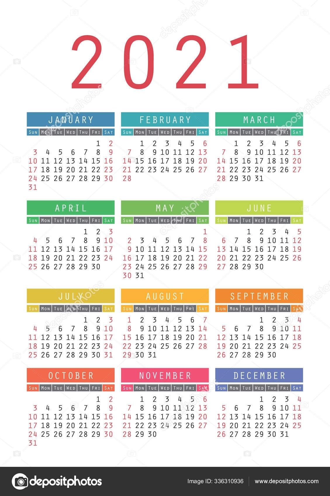 Pocket Calendar 2021 Year. Vector Wall Calender Template  Print Pocket 2021 Calendar Free