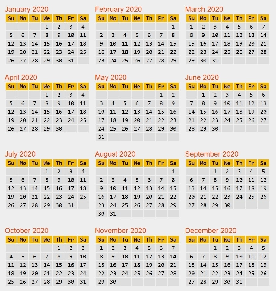 Pply2C49 | Pay Period Leap Year 2020 Clipart Pack #4539  Opm Pp Calendar 2020