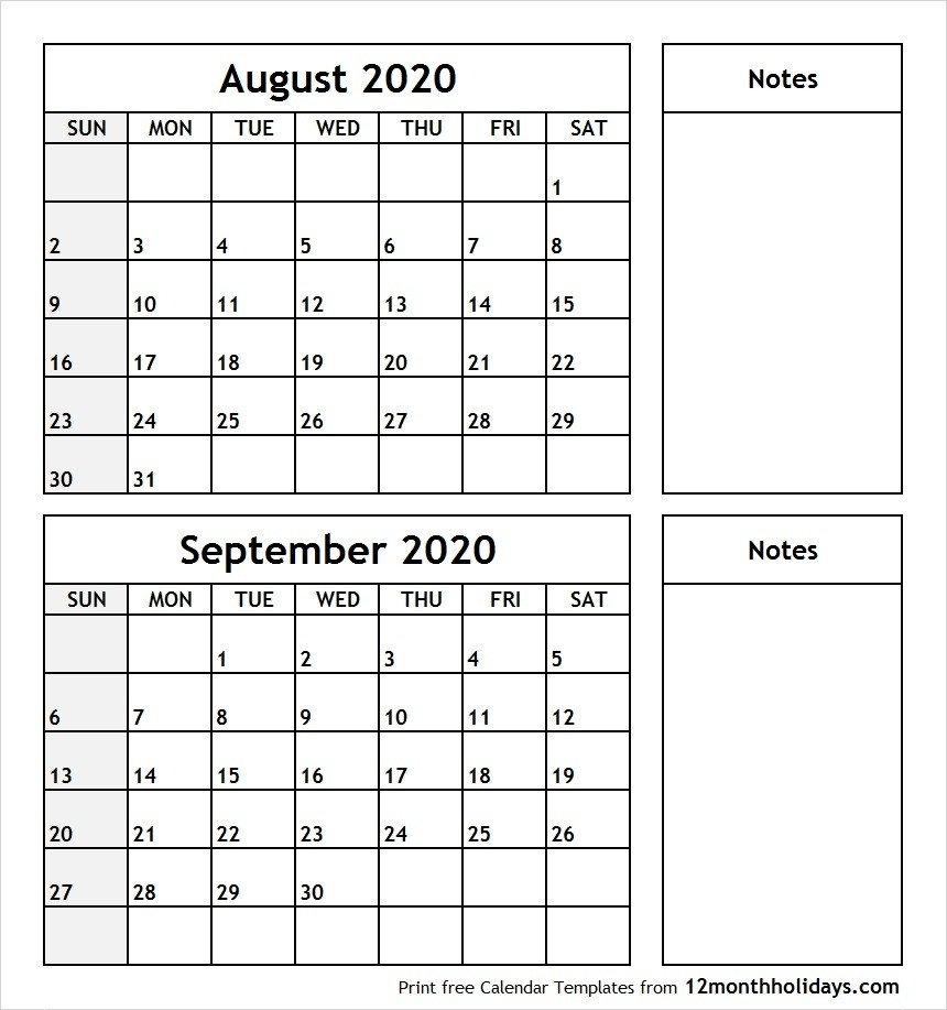 Print August September 2020 Calendar Template | 2 Month Calendar  June July August September 2020 Calendar