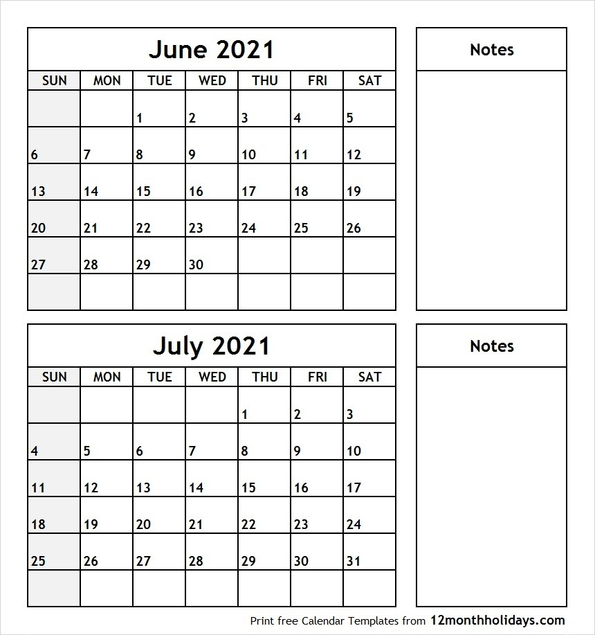 Print June July 2021 Calendar Template | 2 Month Calendar  July 2021 12 Months