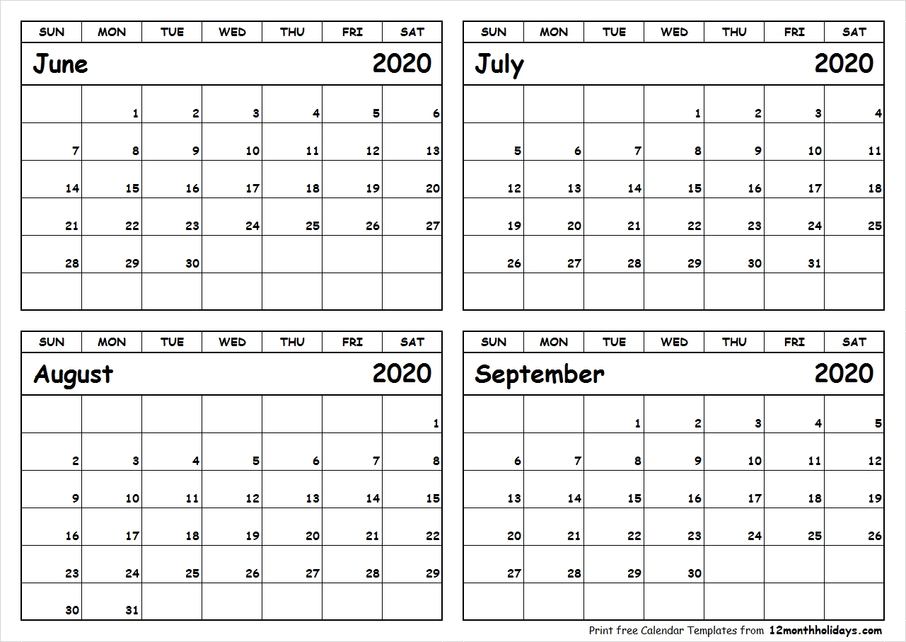 Print June To September 2020 Calendar Template | 4 Month  June July August September 2020 Calendar