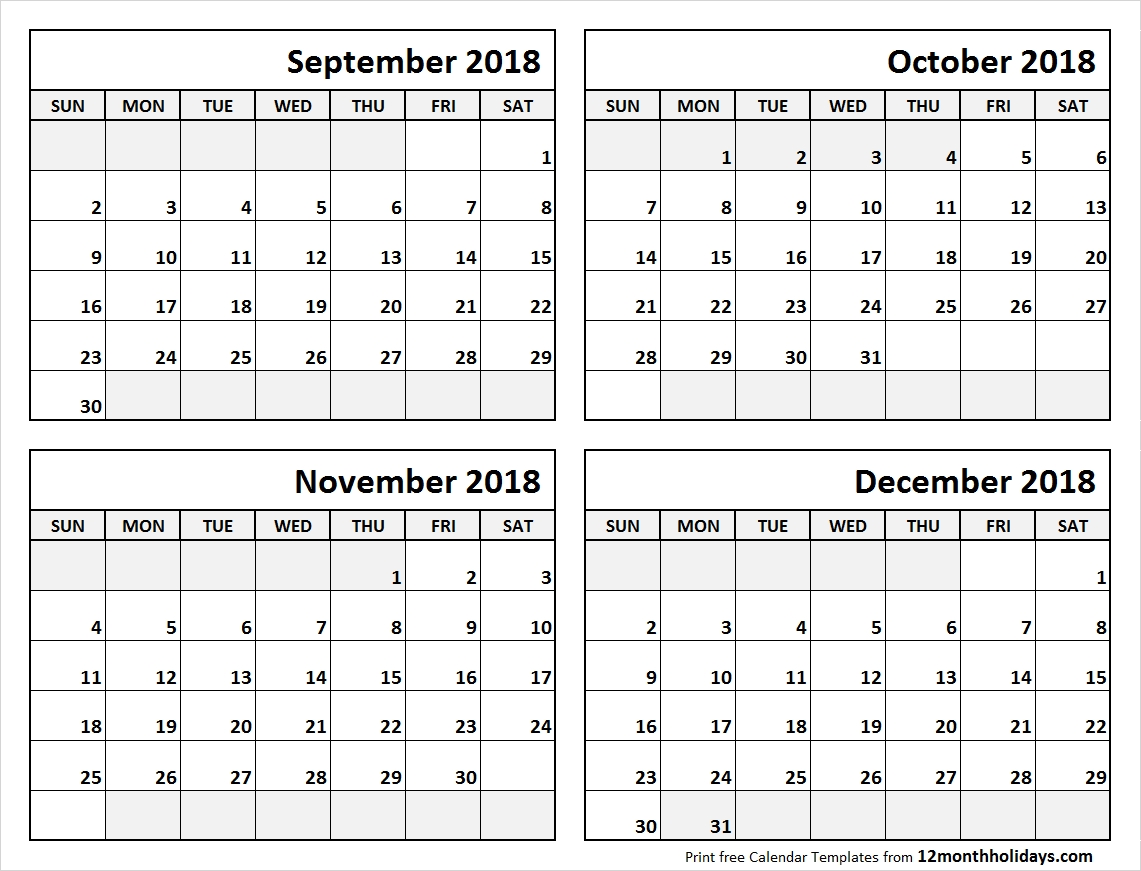 Print September To December 2018 Calendar Template  Blank Calendar 4 Months