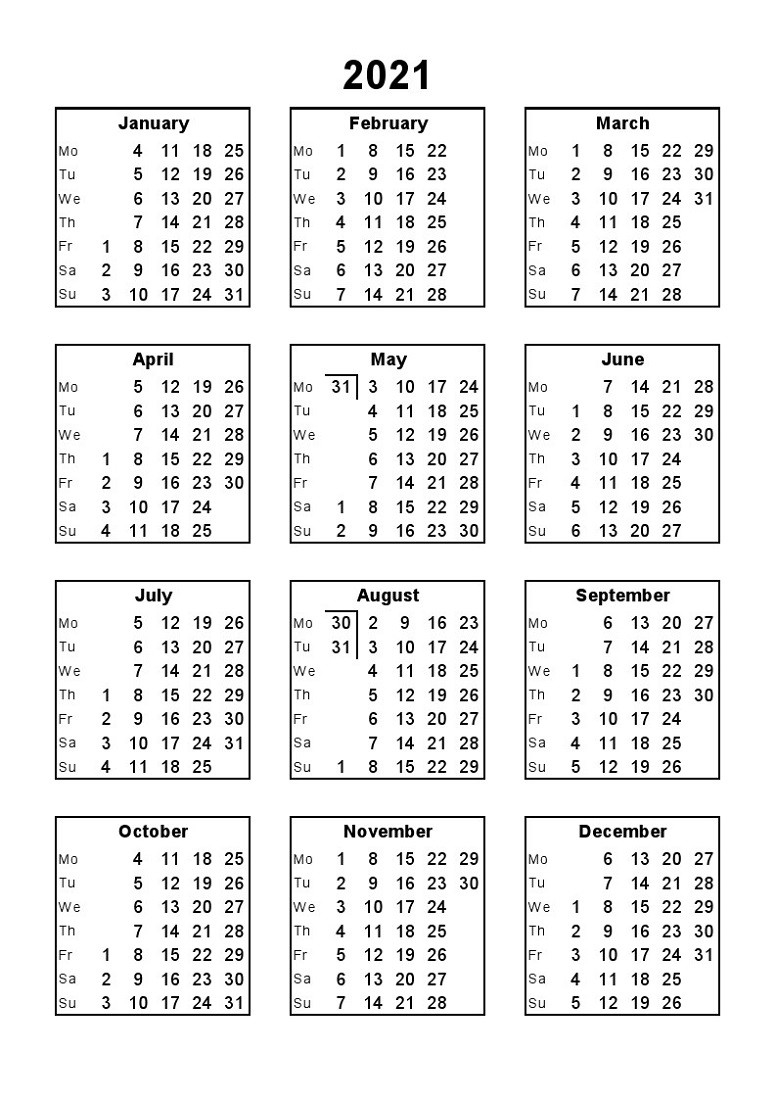 Printable 12 Month Calendar 2021 Various Size | Calendar Shelter  12 Month 2021 Printable Calendar Type On