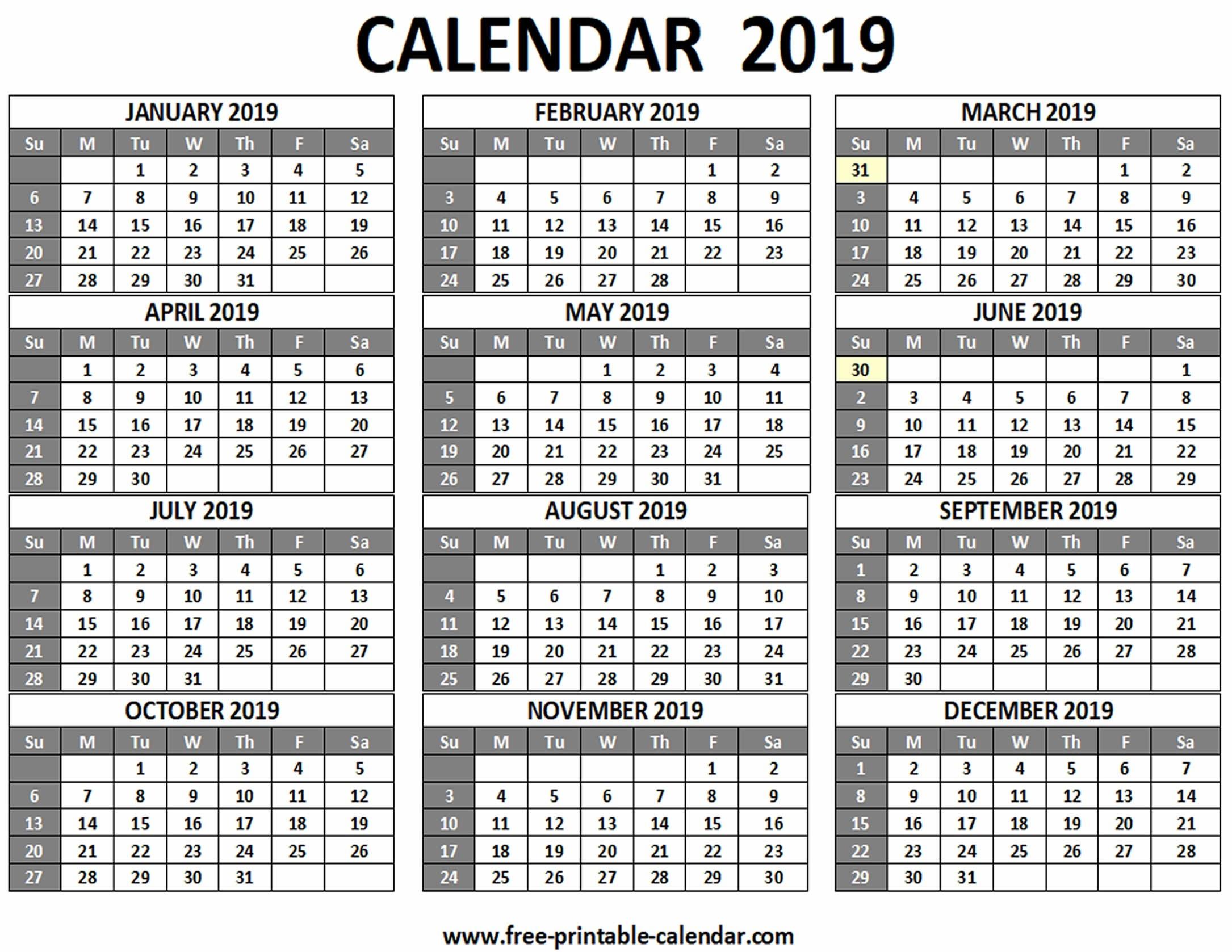 Printable 2019 Calendar - Free-Printable-Calendar  Free 12 Month Printable Calendars