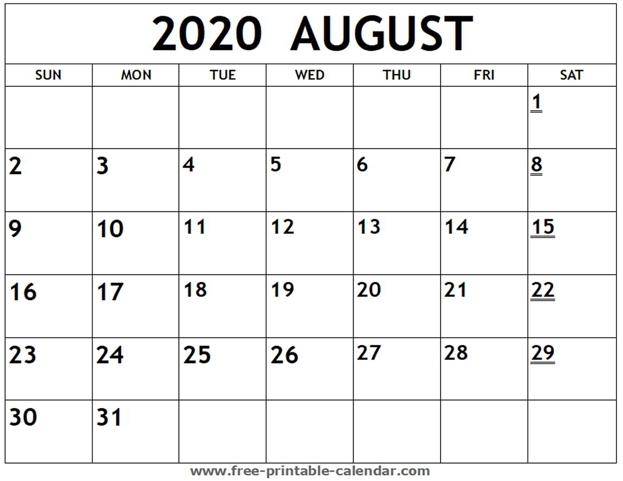 Printable 2020 August Calendar - Free-Printable-Calendar  Blank Calendar For August 2020 Printable
