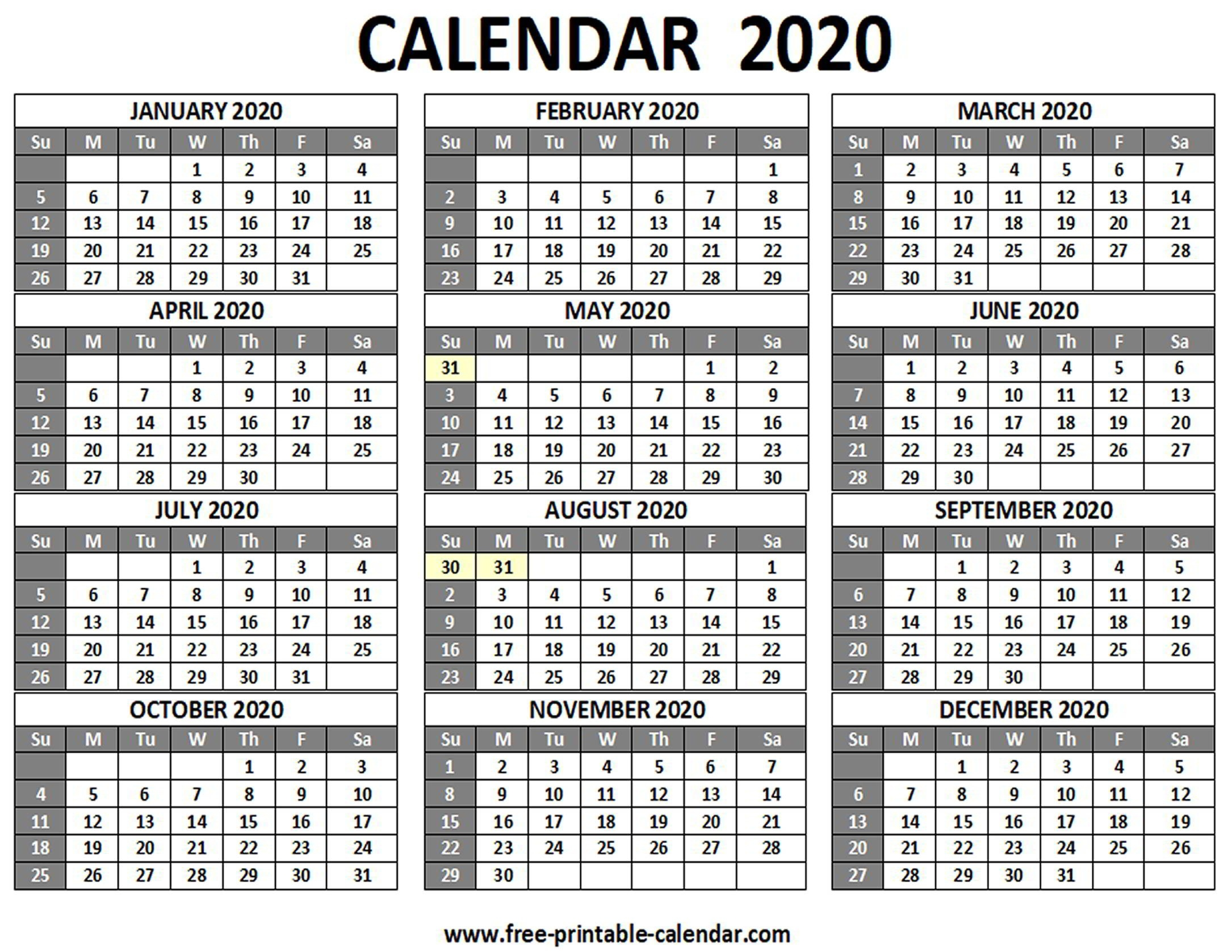 Printable 2020 Calendar - Free-Printable-Calendar  2020 Calendar Printable One Page