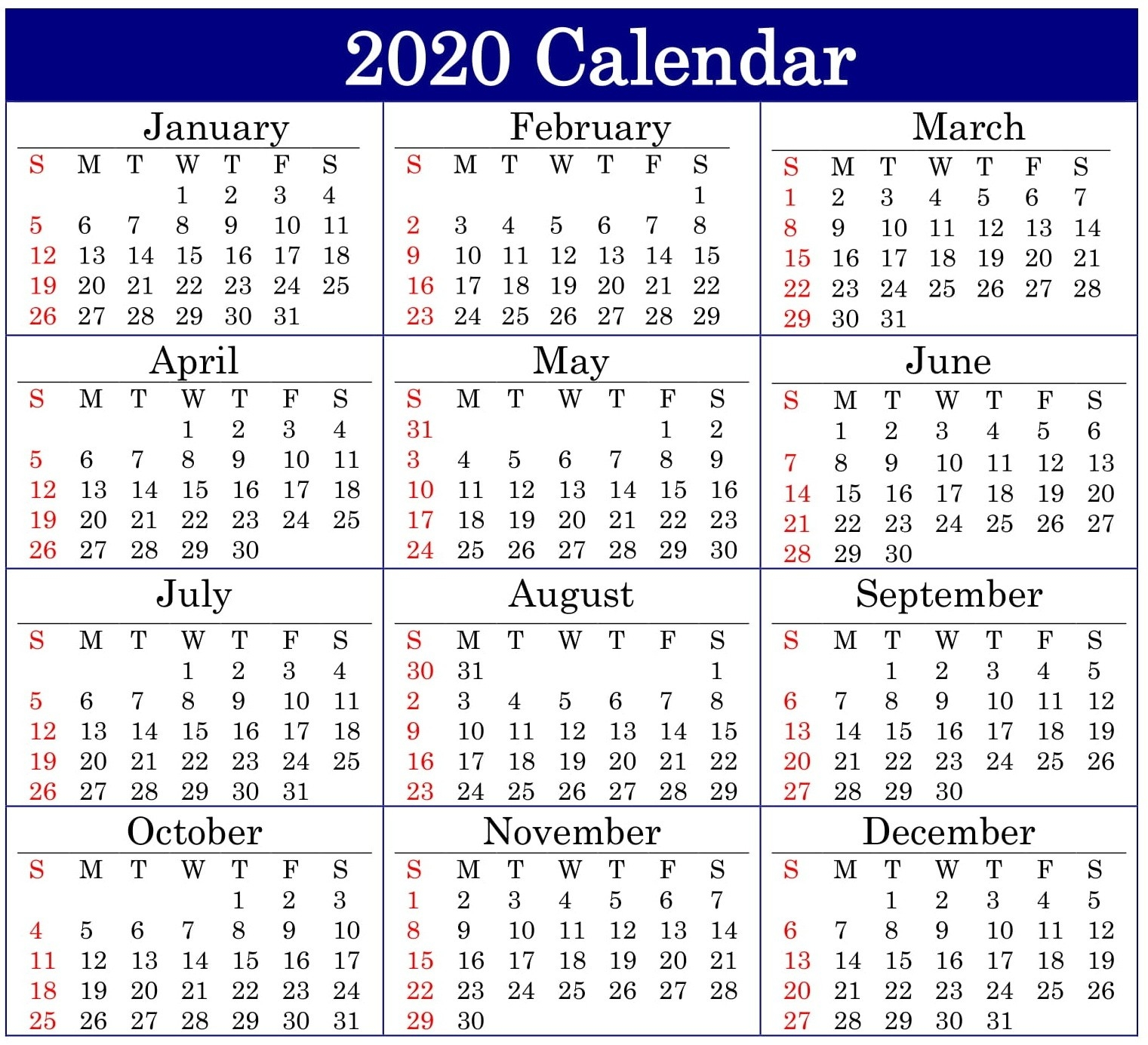 Printable 2020 Calendar Online Download – Free Latest  Free Online Calendars 2020 Printable
