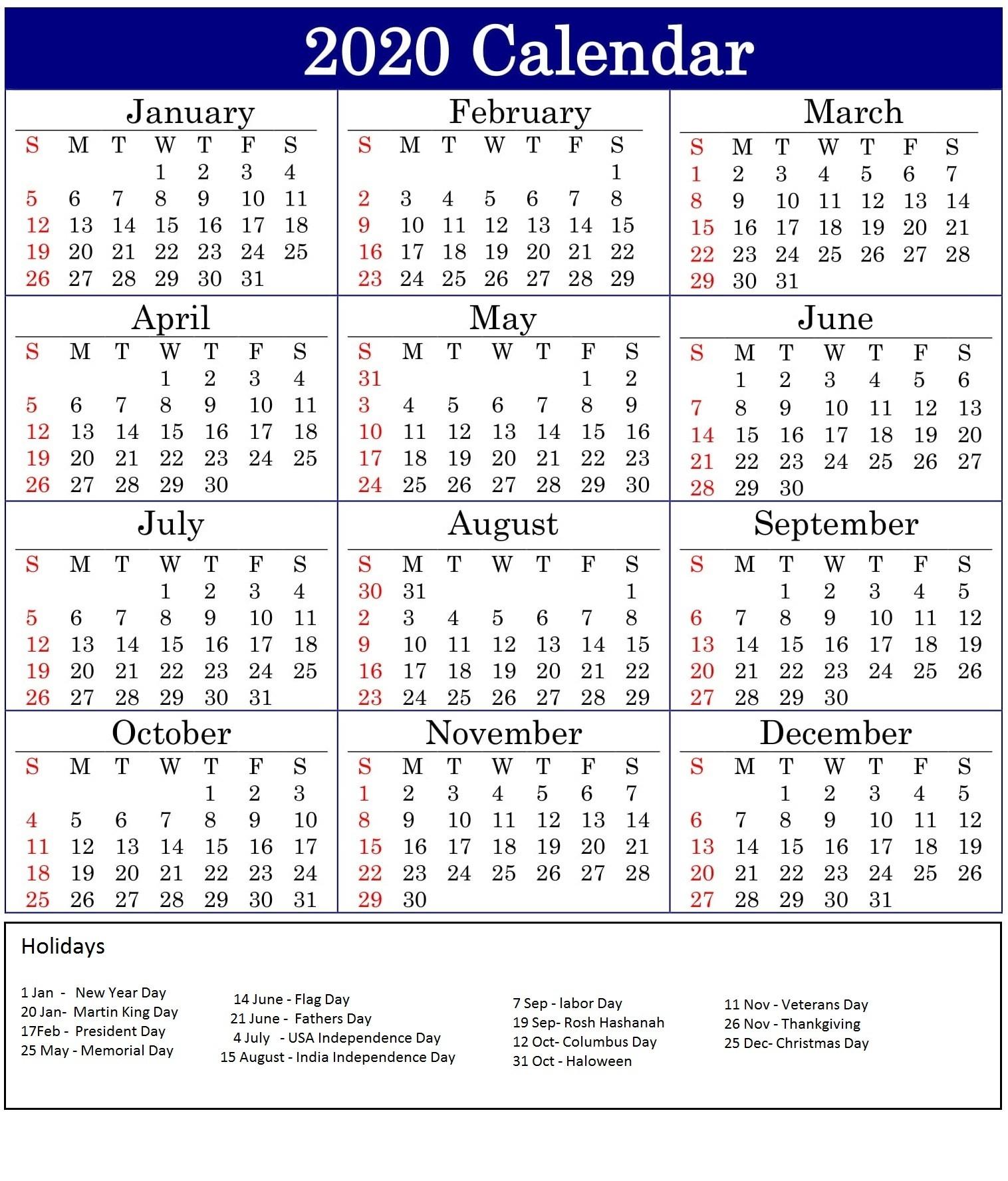 Printable 2020 Calendar With American Holidays - Latest  2020 Calendar With Holidays Printable One Page
