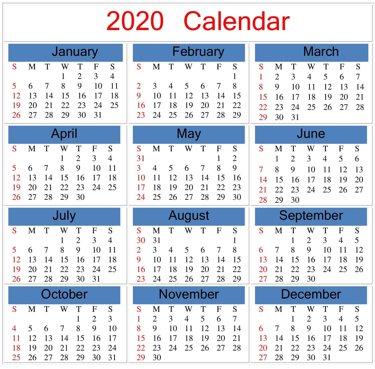 Printable 2020 Calendar Word Document - Latest Printable  365 Day Julian Calendar January