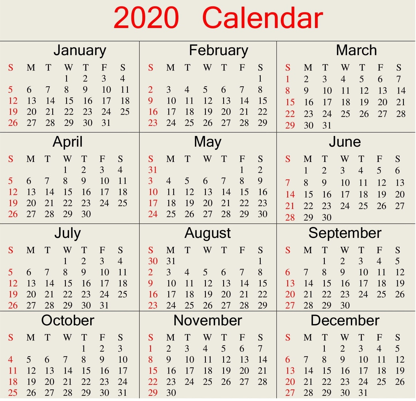 Printable 2020 Calendar Word Document - Latest Printable  365 Day Julian Calendar January