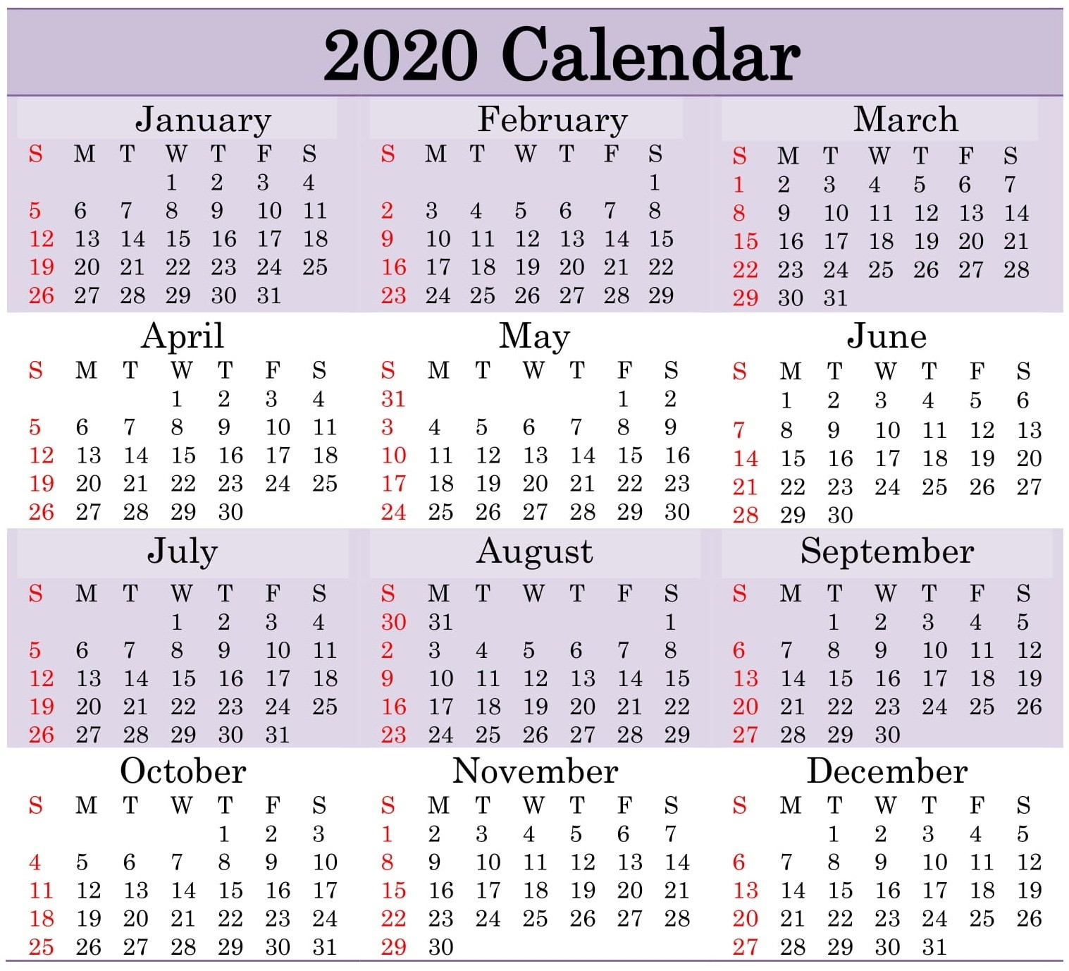 Printable 2020 Calendar Word Document - Latest Printable  Julian Calendar 2020