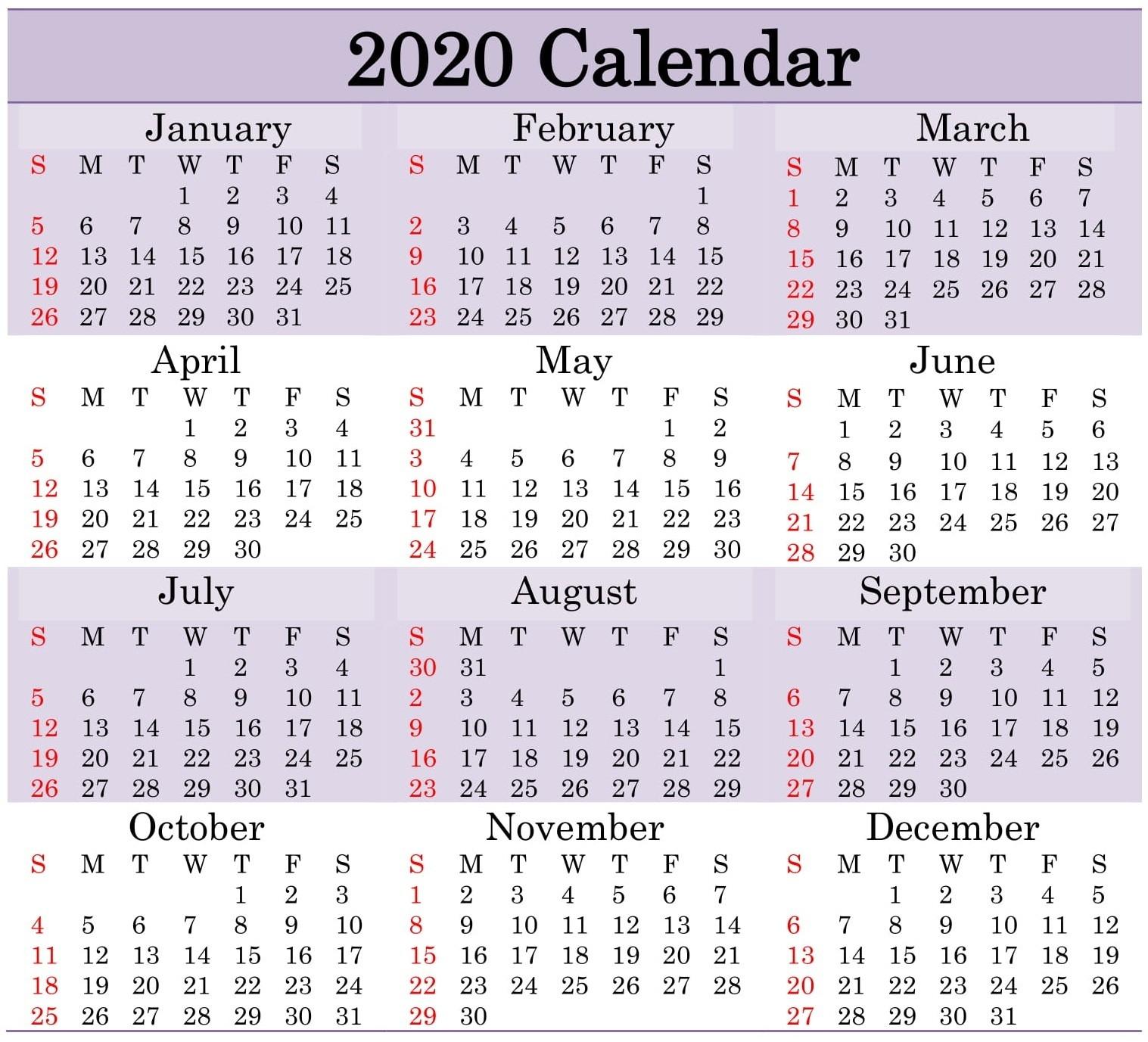 Printable 2020 Calendar Word Document - Latest Printable  Julian Day Calendar 2020