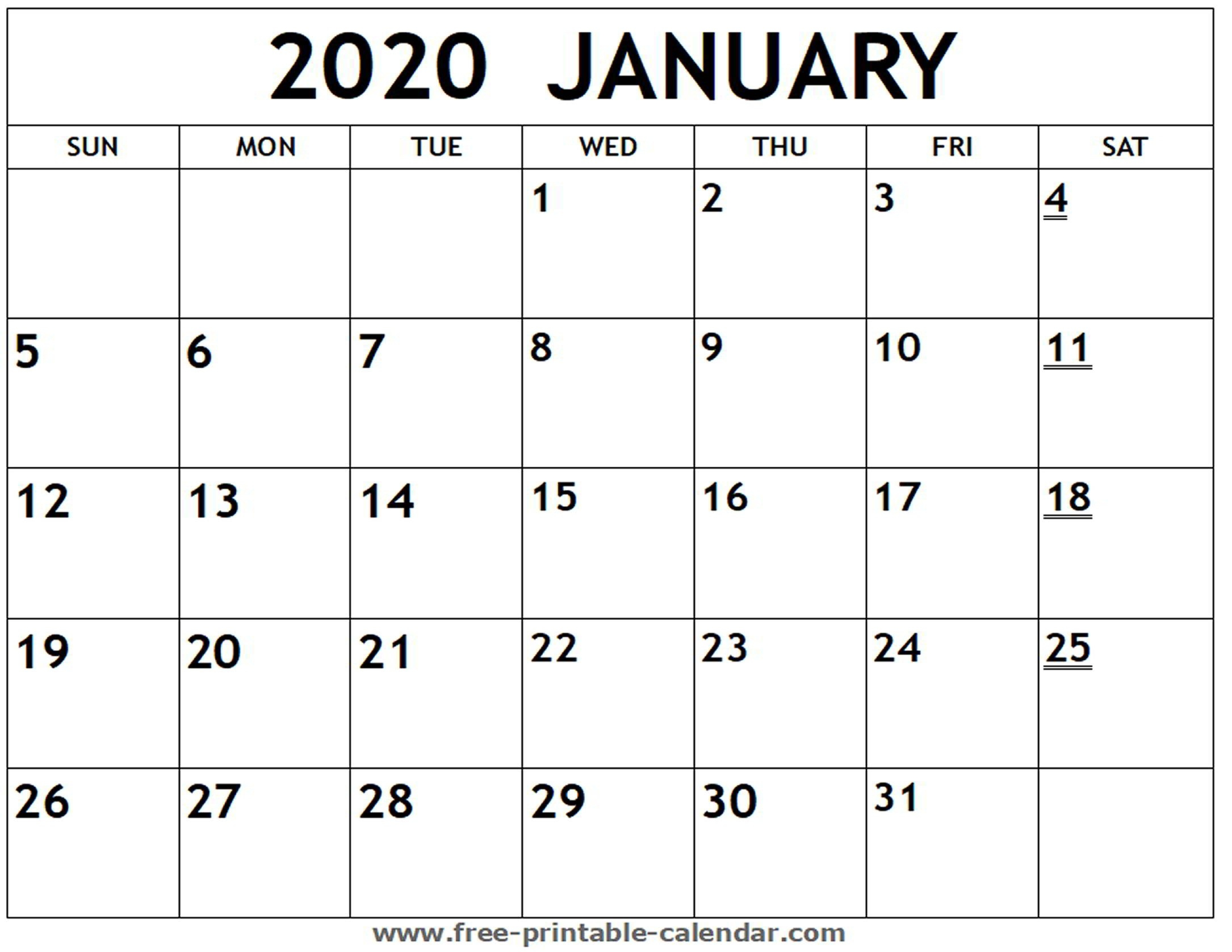 Printable 2020 January Calendar - Free-Printable-Calendar  Free Monthly Calendar Print Out 2020 With Holidays