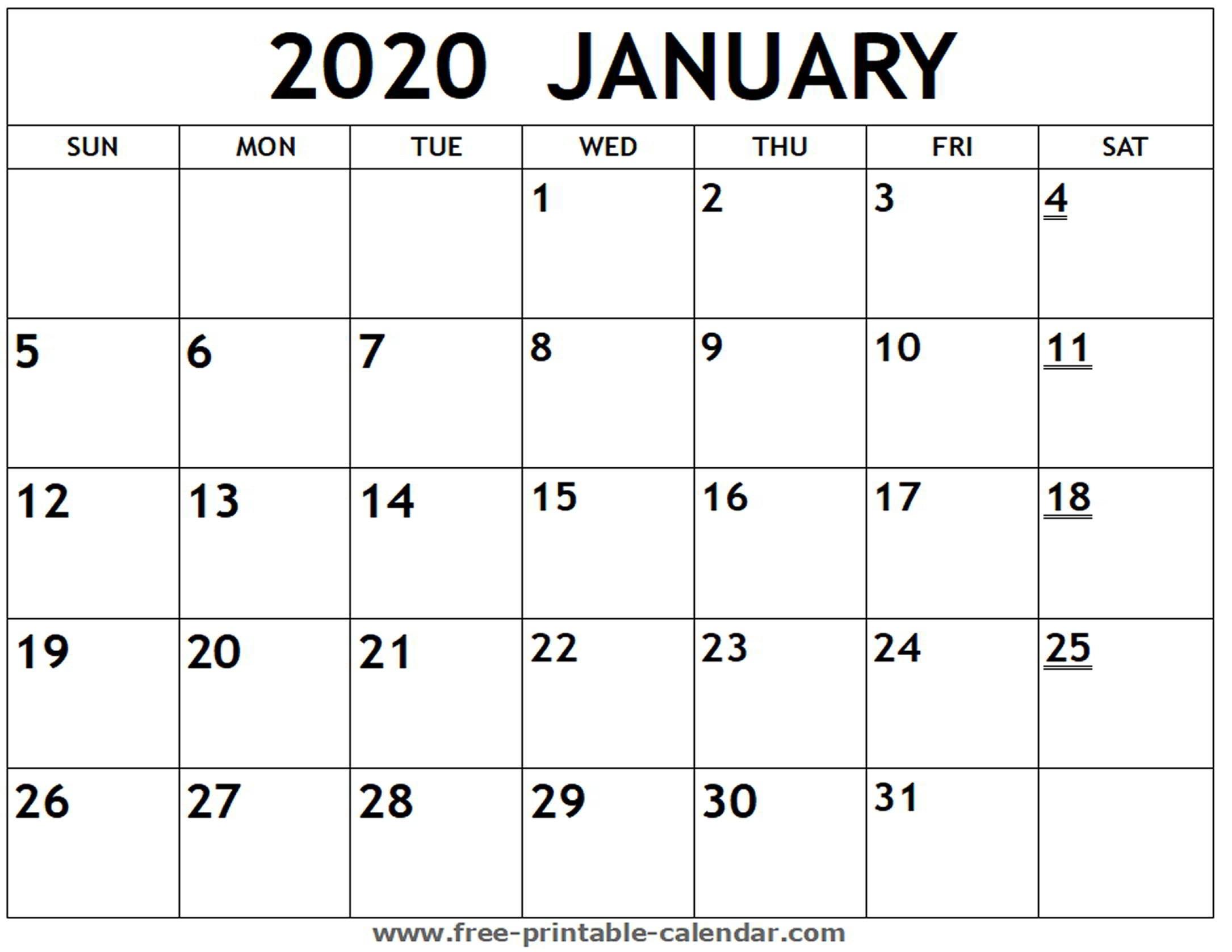 Printable 2020 January Calendar - Free-Printable-Calendar  Free Printable 2020 Monthly Calendar