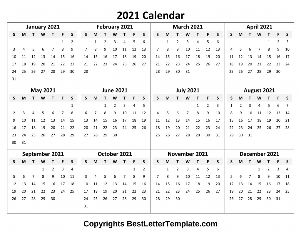 Printable 2021 Calendar Template In Pdf, Word & Excel  Excel 4 Month 2021 Calendar Template