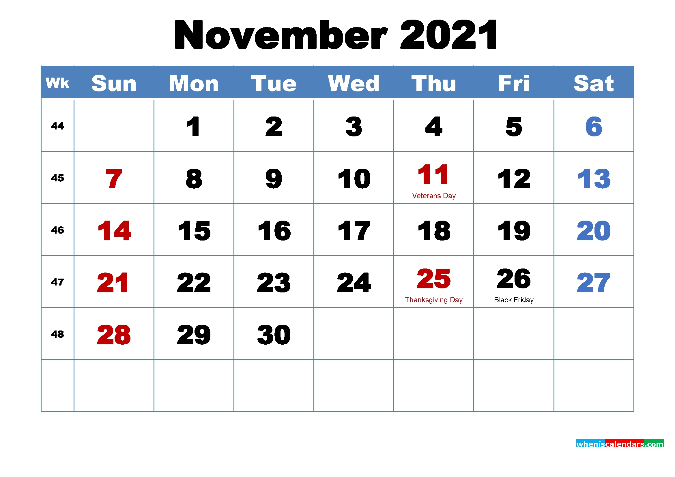 Printable 2021 Calendarmonth November | Free Printable  2021 Free Printable Calendars Without Downloading November