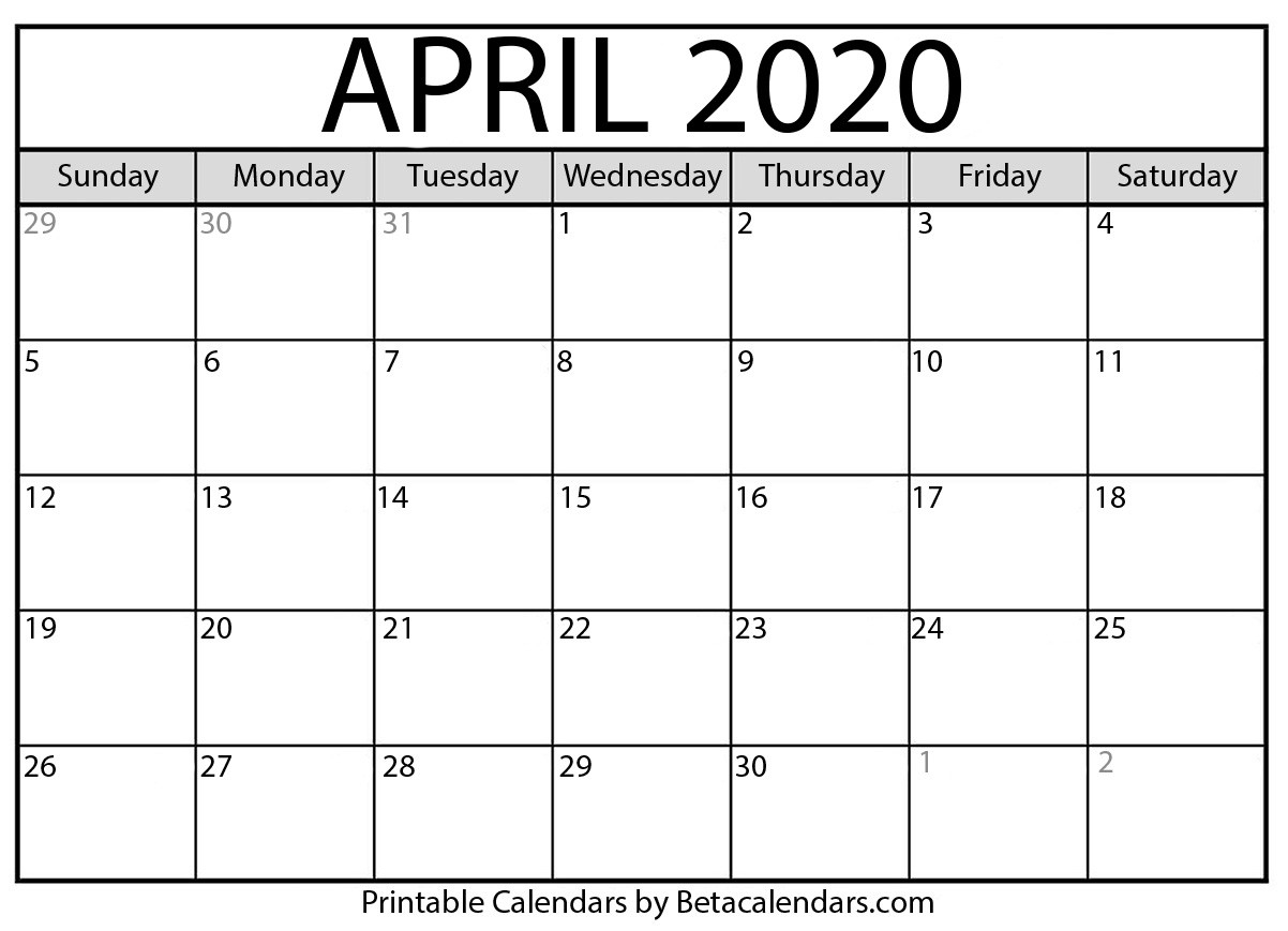 Printable April 2020 Calendar - Beta Calendars  Printable March 2020 Calendar Pdf