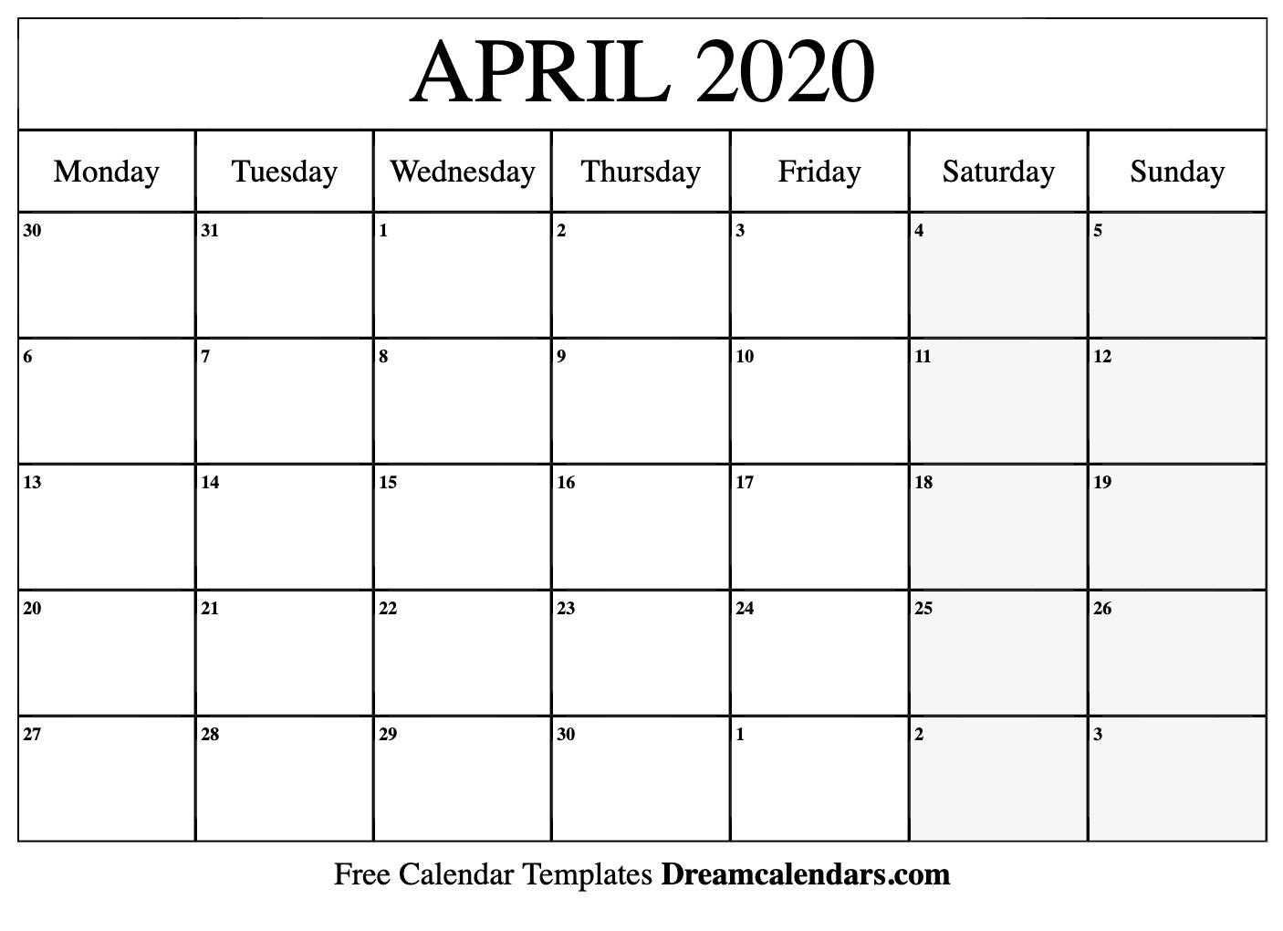 Printable April 2020 Calendar  Printable Calendar 2020