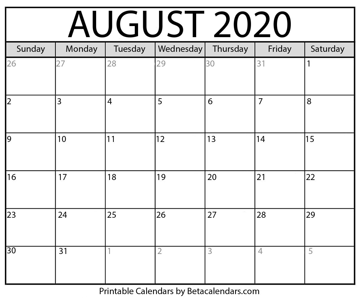 Printable August 2020 Calendar - Beta Calendars  August 2020 Calendar