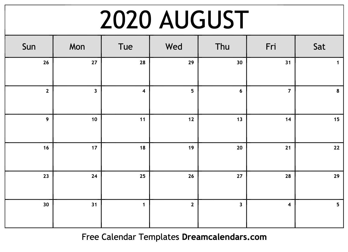 Printable August 2020 Calendar  Blank Calendar For August 2020 Printable