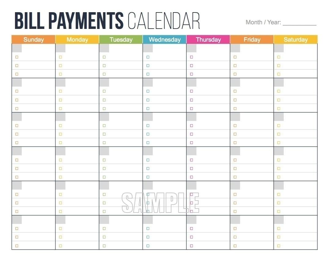 Printable Bill Calendar 2020 Monthly | Calendar Template  Free Bill Pay Calendar 2020