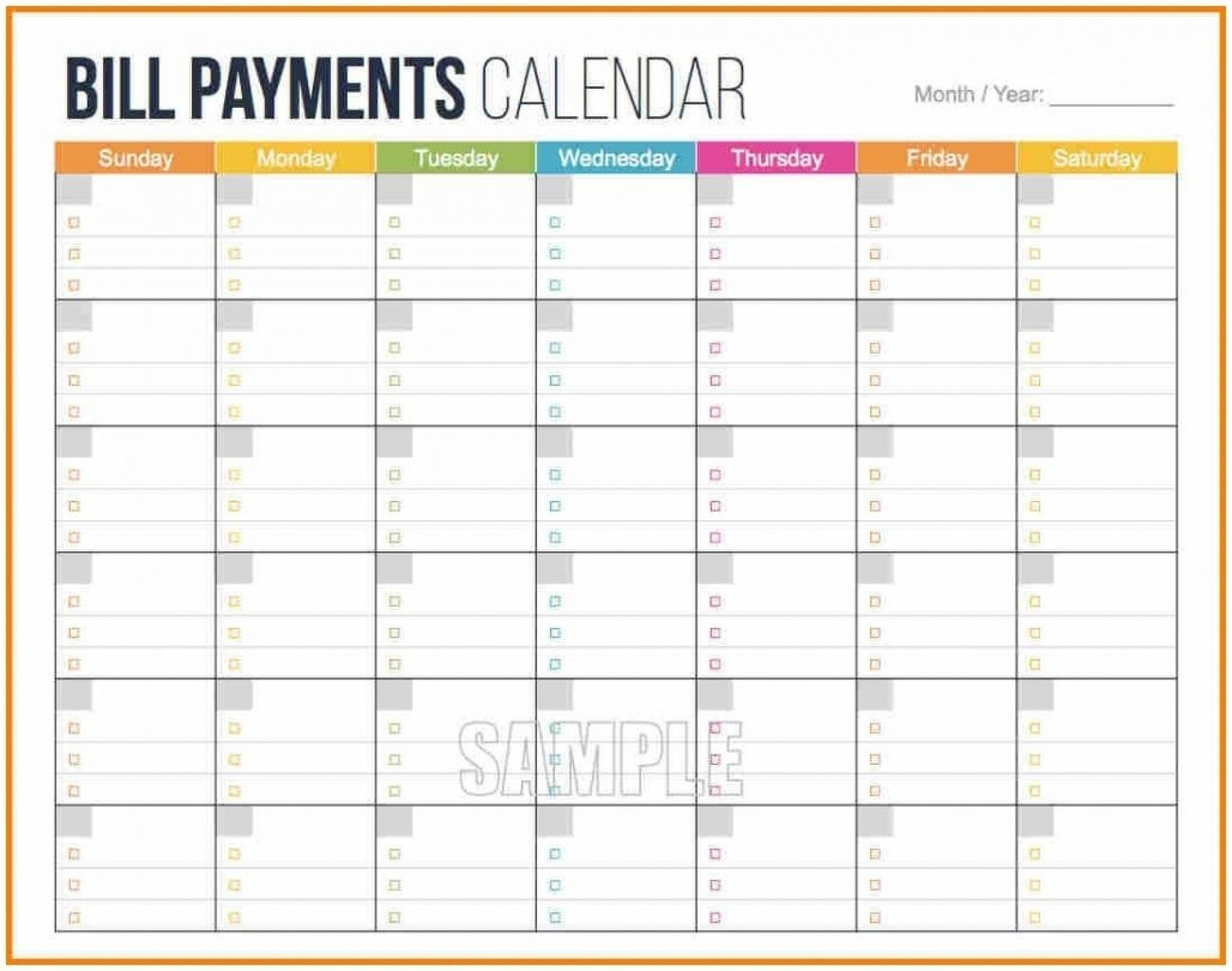 Printable Bill Calendar 2020 Monthly | Calendar Template  Printable Bill Pay Calendar 2020